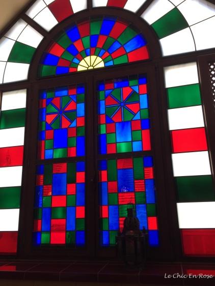 Glass windows in the kiosk