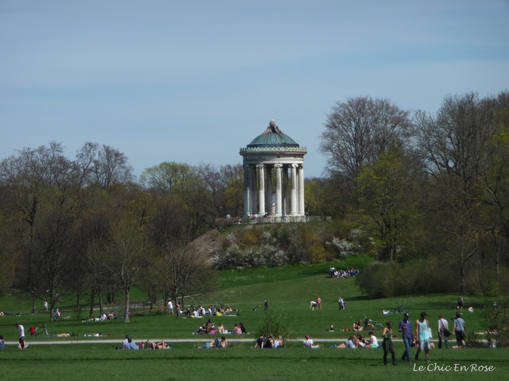 Monopteros, a small Greek style temple is a feature of the Englischer Garten