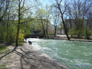 River Eisbach near the surf wave