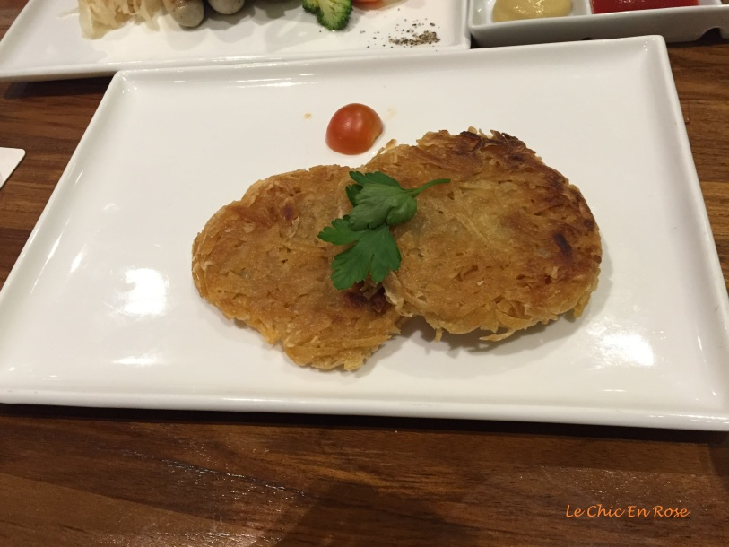 "Side dish of ""Roesti"" a Swiss influence"