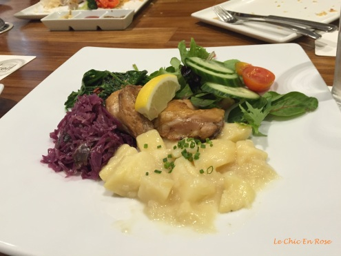 Le Chic En Rose's selection, spatchcock with potato salad and orange and cranberry flavoured sauerkraut