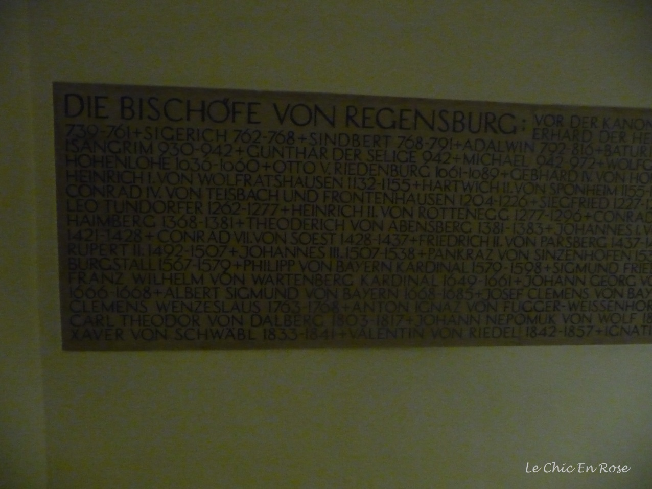 Plaque with names of all the Bishops of Regensburg inscribed on it