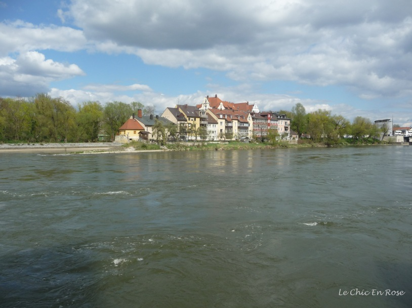 Looking across the Danube from the bank next to the Old Stone Bridge