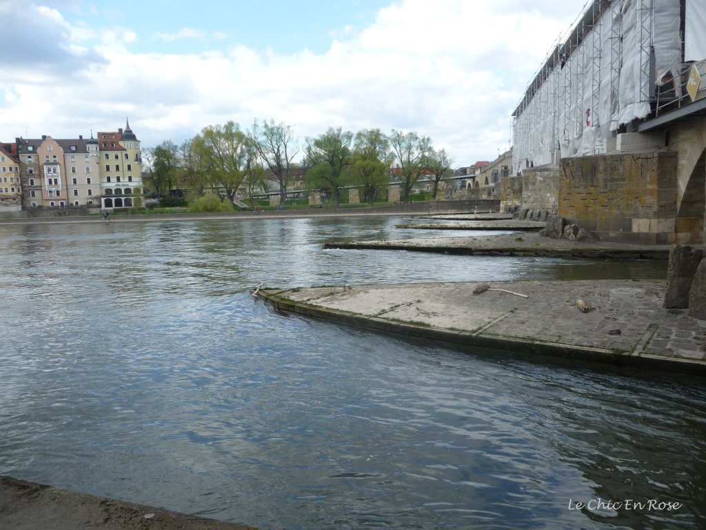 Down by the River Danube Regensburg with the old Stone Bridge in the background
