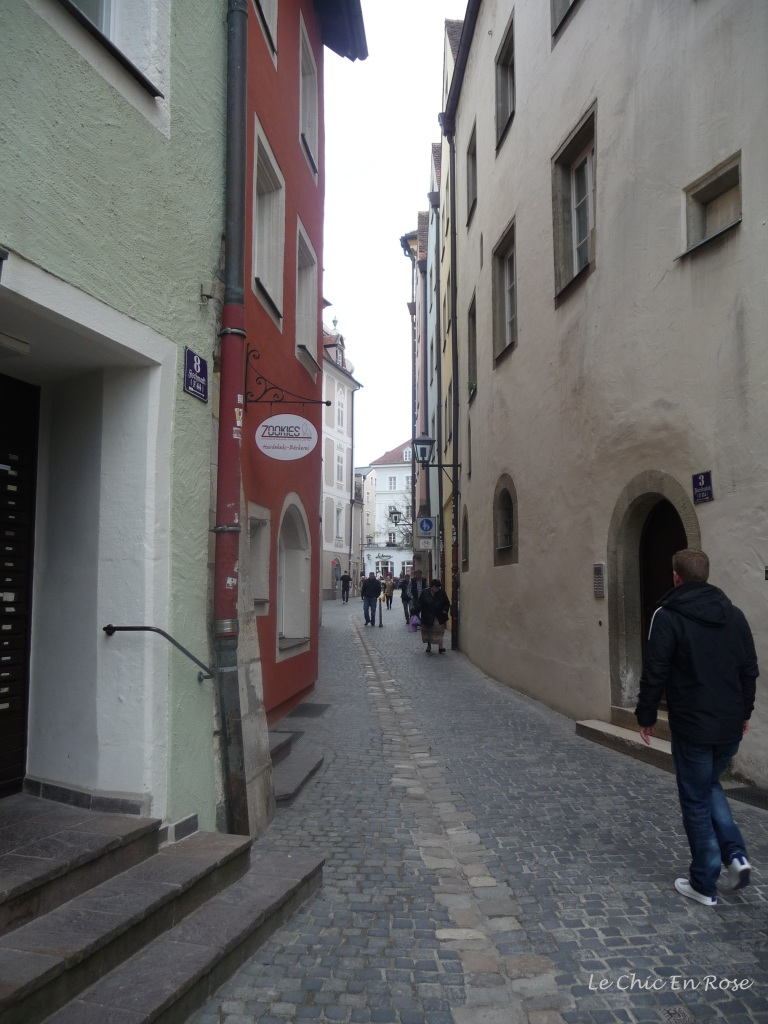 One of the many little streets and passageways in the Altstadt of Regensburg