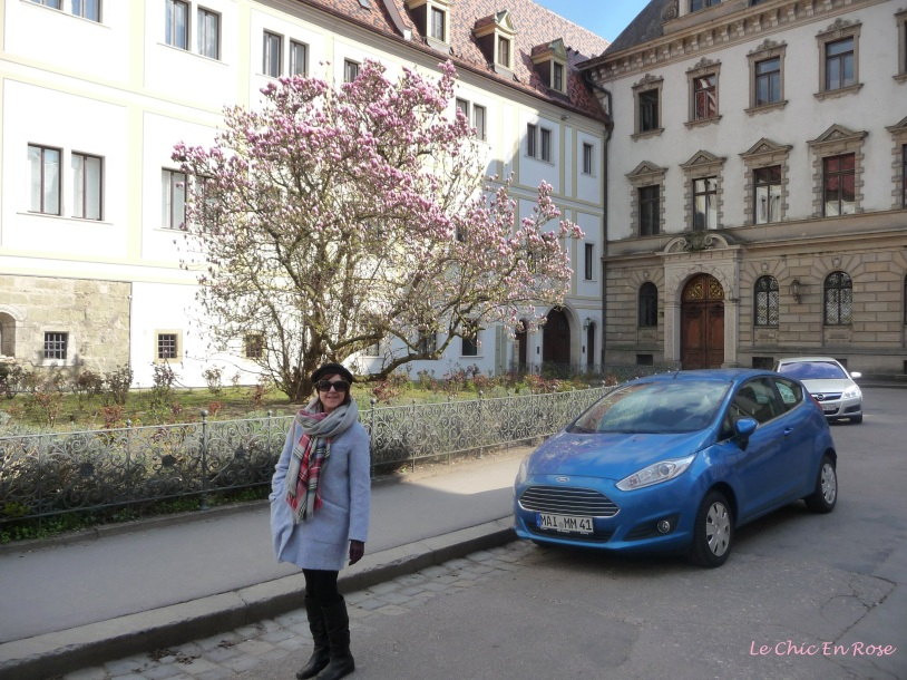 Walking round the outside of the Schloss Emmeram