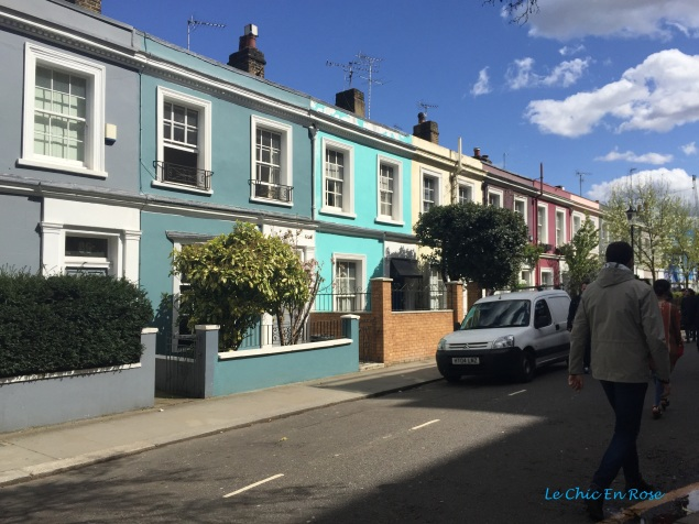 Pretty pastel terraces along Portobello Road