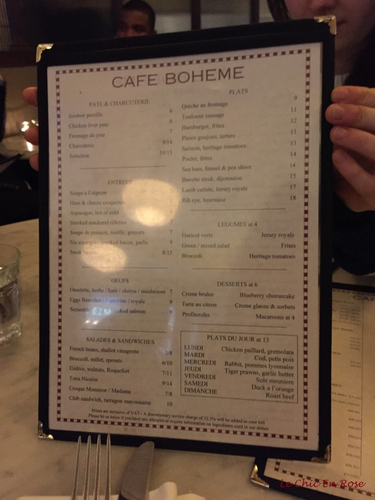Cafe Boheme Menu