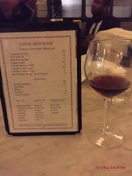 Drinks menu Cafe Boheme