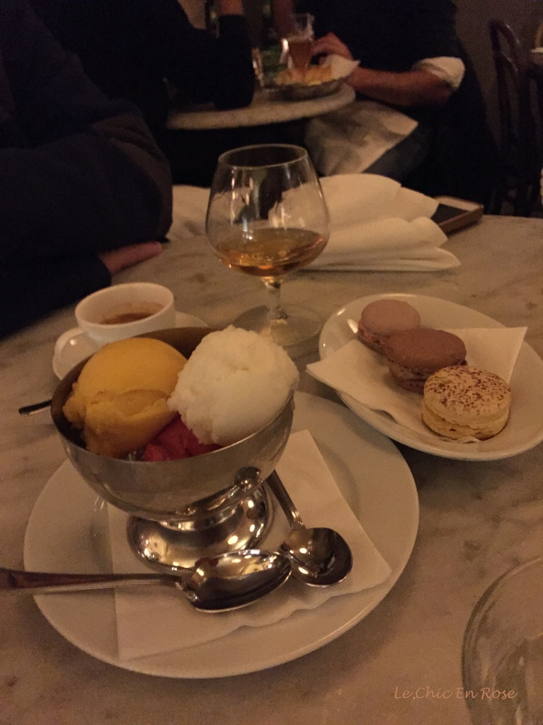 Macaroons and sorbets followed by coffee and calvados - desserts at Cafe Boheme!