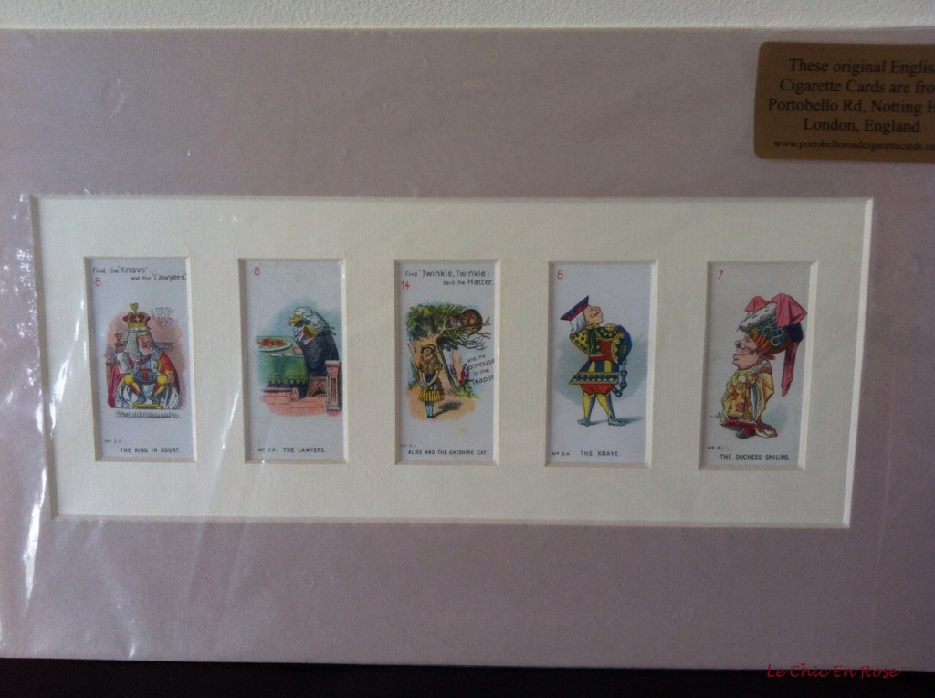 Alice In Wonderland print of original cigarette cards from Portobello Road cigarettes, Portobello Road Markets London