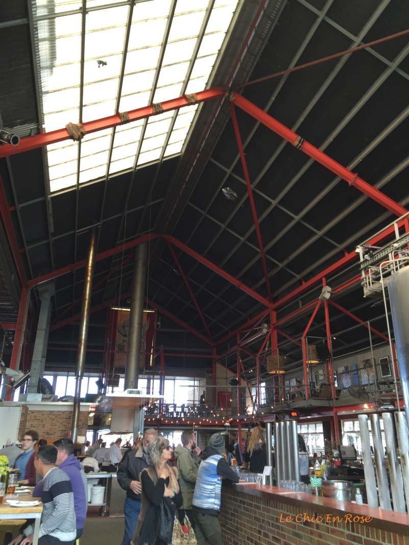 Inside the brewery retains a semi industrial feel