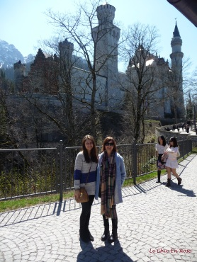 Mlle and Le Chic En Rose with Neuschwanstein in the background