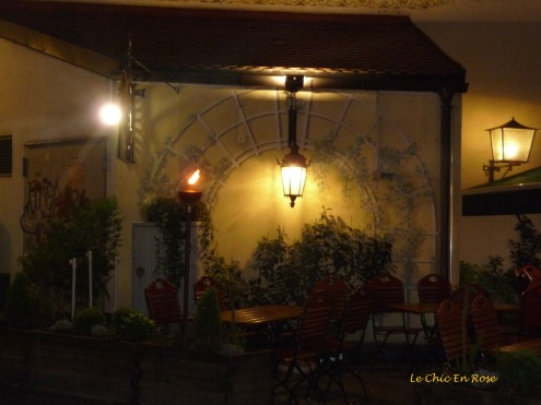Beer garden at night Zum Duernbraeu Munich