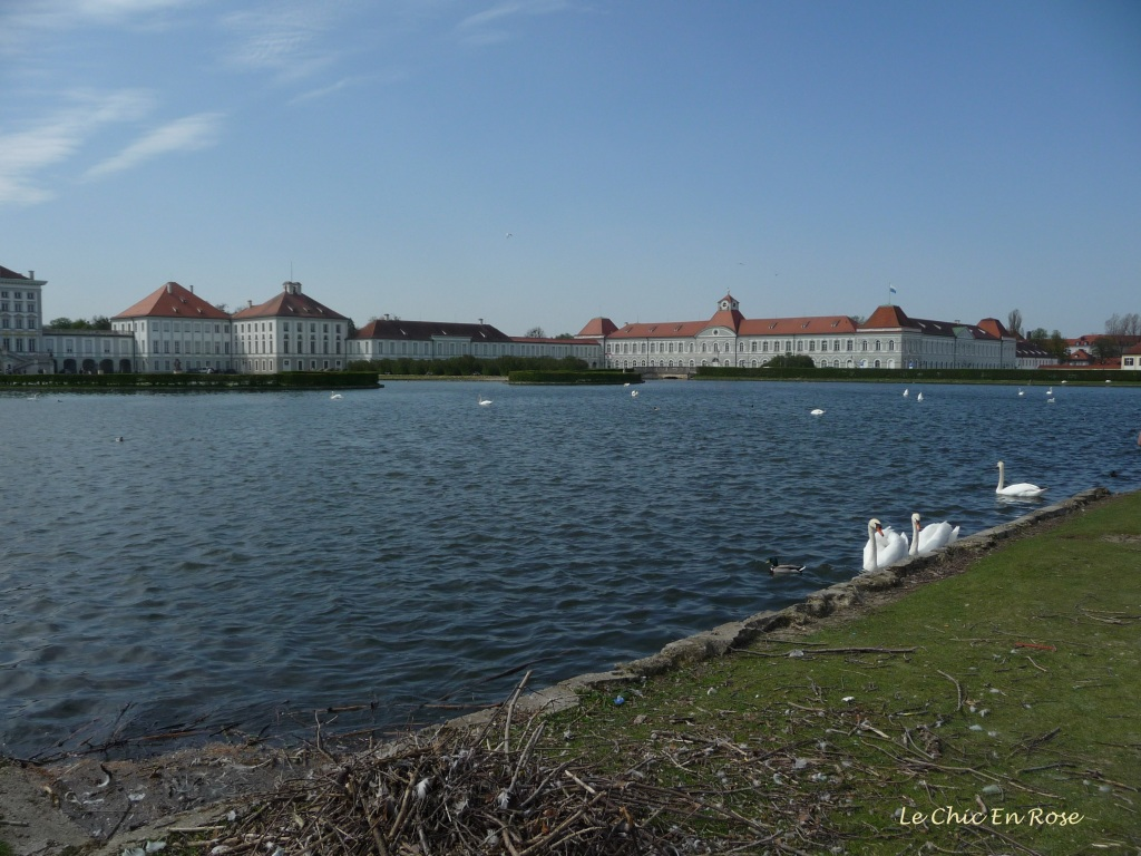 Approaching Nymphenburg Palace front entrance and lake with swans