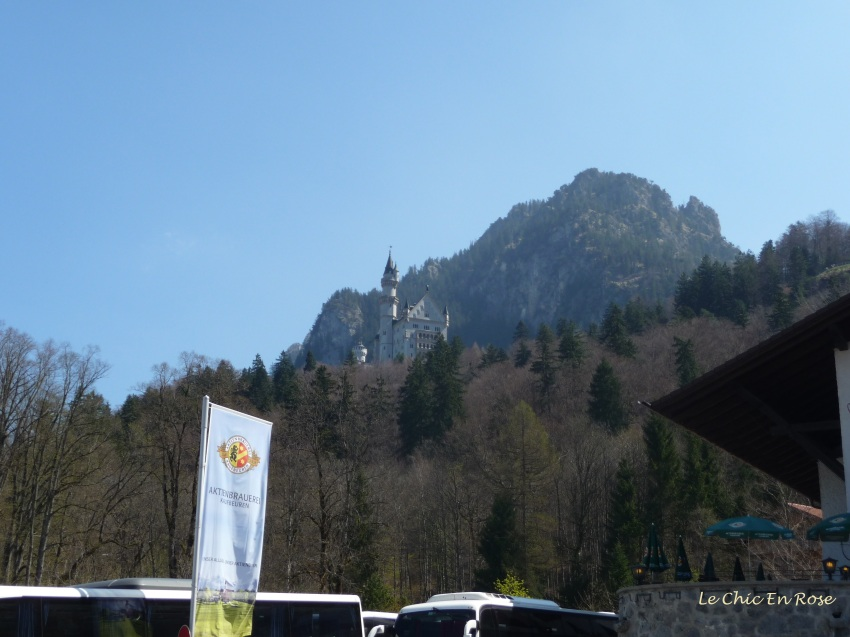 Neuschwanstein Castle viewed from the village of Hohenschwangau in the valley