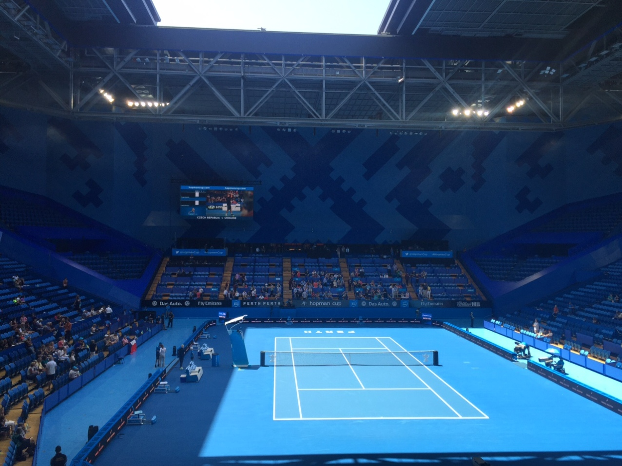 Perth Arena set up for tennis