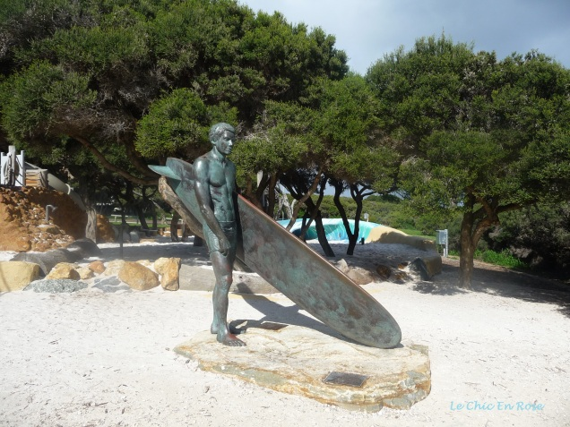Sculpture of surfer at Yallingup Beach Front