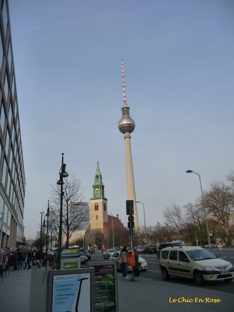 View of the Fernsehturm Berlin (Berlin TV Tower) near Alexanderplatz in the Mitte