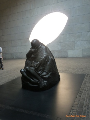 "Neue Wache (New Guardhouse) - Käthe Kollwitz's incredibly moving statue ""Mother With Her Dead Son"" exposed to the elements by the oculus in the roof"