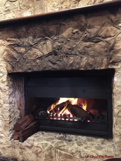 Roaring log fire in the main bar area