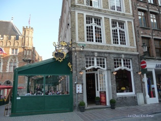 Cafe on corner of street in the centre of Bruges Old Town