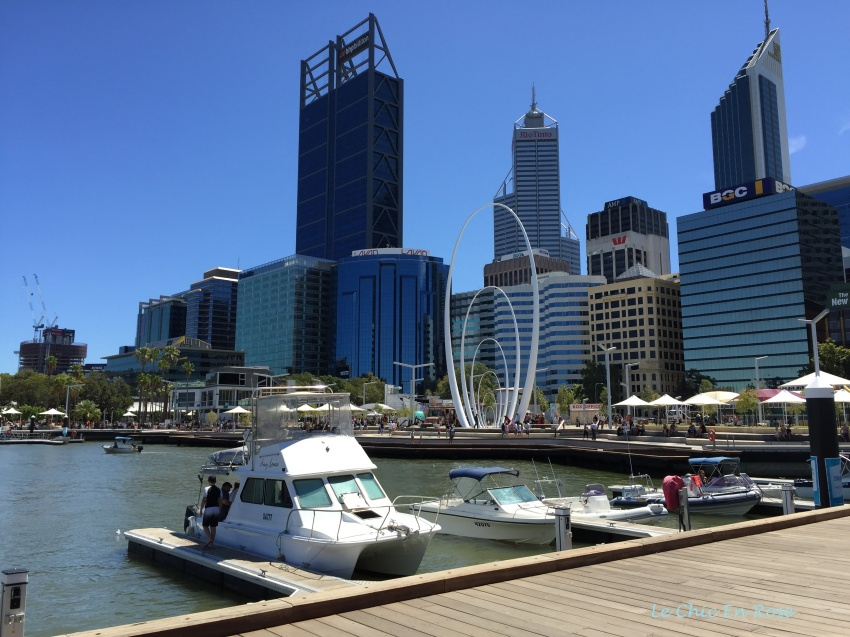 Boats moored at Elizabeth Quay