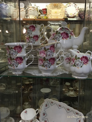Pretty bone china in the vintage emporium Backyard Market E1