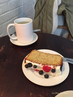Afternoon tea with a slice of their berry teacake with cream cheese frosting