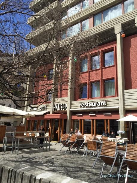 Outside Restaurant Hauser St Moritz