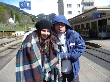 Mlle And Monsieur Huddled Up Against The Cold At Poschiavo