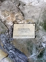 Byron's Plaque - he carved his name into the pillar