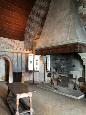 Large fireplace in the dining quarters