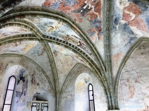 Faded frescoes on the ceiling