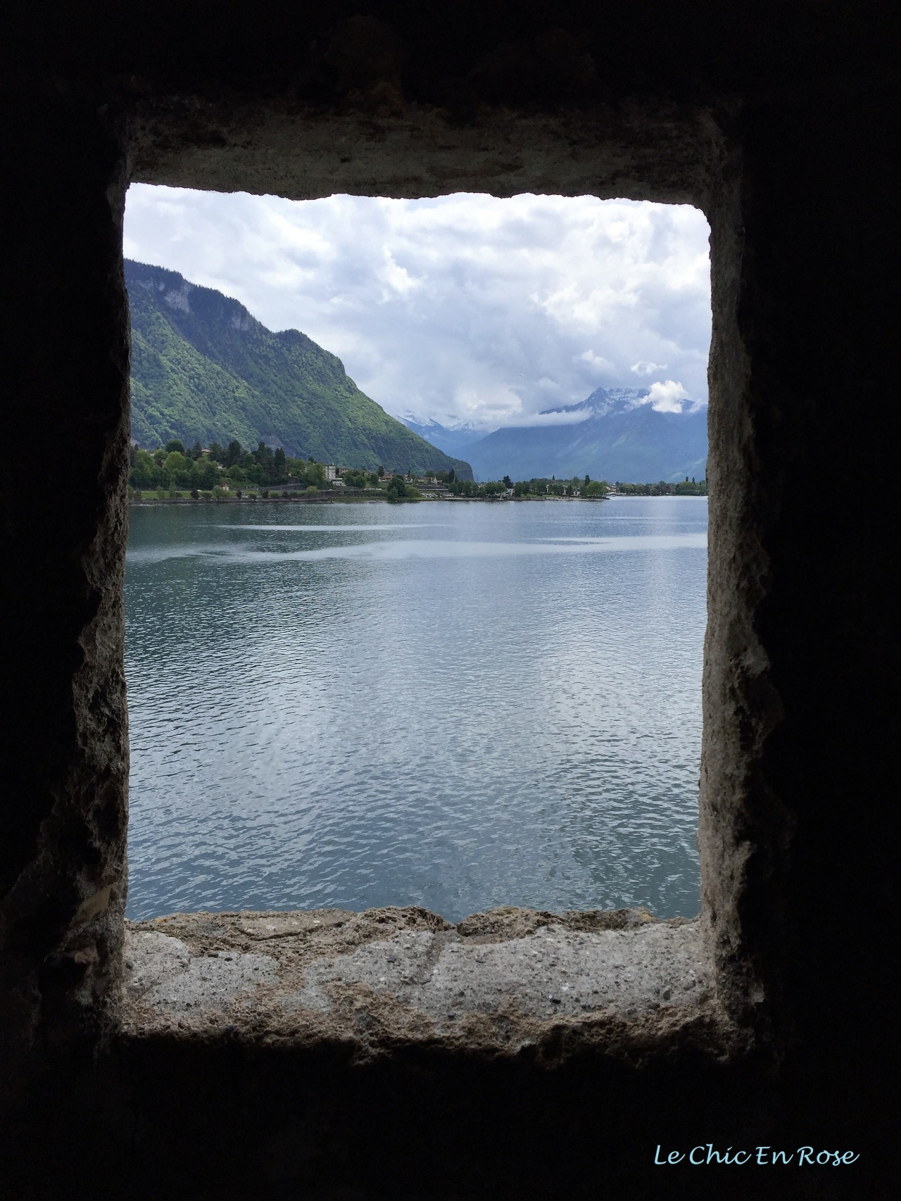 View of Lake Geneva and the Alps from Chateau de Chillon