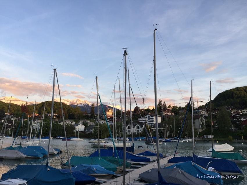 Boat at twilight Spiez