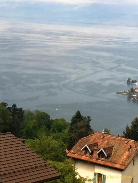 Lake Geneva hazy below