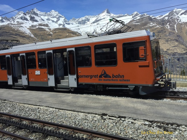 The little orange train going up to Gornergrat