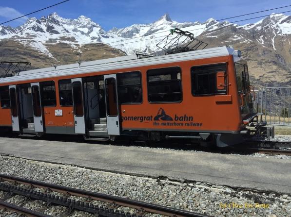 The little orange train going up to Gornergrat
