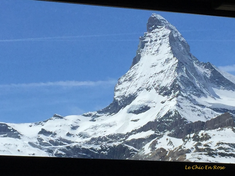 Matterhorn coming into view from the train