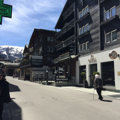 Alps in background - main street