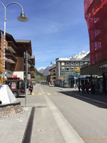 View down the high street Zermatt