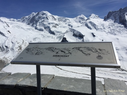Gornergrat Summit Viewing Platform - map of the mountain range on the information sign
